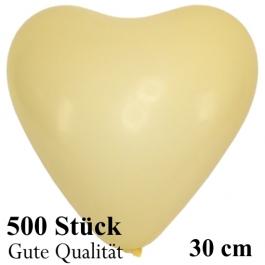 Herzluftballons Elfenbein, Gute Qualität, 500 Stück, 30 cm