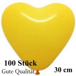 Herzluftballons Gelb, Gute Qualität, 100 Stück, 30 cm