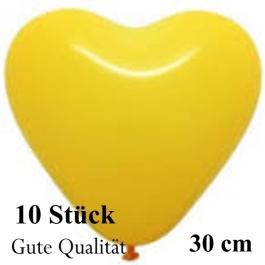Herzluftballons Gelb, Gute Qualität, 10 Stück, 30 cm