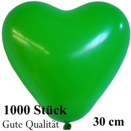 Herzluftballons Grün, Gute Qualität, 1000 Stück, 30 cm