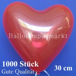 Herzluftballons Kristallrot, Gute Qualität, 1000 Stück, 30 cm