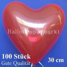 Herzluftballons Kristallrot, Gute Qualität, 100 Stück, 30 cm