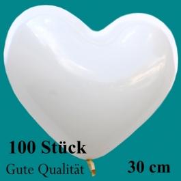 Herzluftballons Weiß, Gute Qualität, 100 Stück, 30 cm
