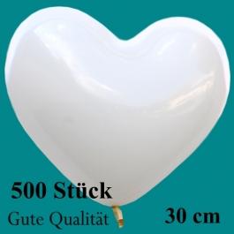 Herzluftballons Weiß, Gute Qualität, 500 Stück, 30 cm