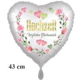 Folienballon ohne Helium: Hochzeit - Herzlichen Glückwunsch