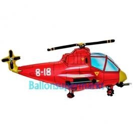 Roter Hubschrauber Folienballon, ungefüllt