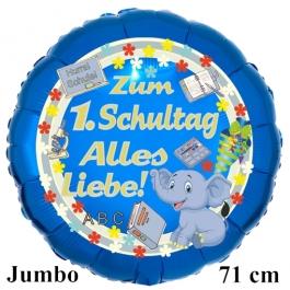 Hurra Schule! Zum 1. Schultag Alles Liebe! 70 cm grosser, blauer Luftballon mit Ballongas Helium gefüllt zur Einschulung, zum Schulanfang