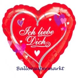 Ich liebe dich, Herzluftballon aus Folie mit Herzen