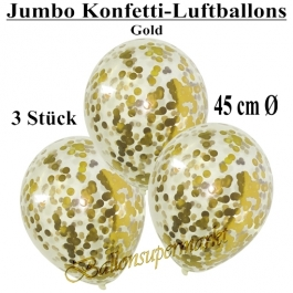 Jumbo Konfetti-Luftballons 45 cm, Transparent mit goldenem Konfetti gefüllt, 3 Stück