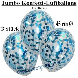 Jumbo Konfetti-Luftballons 45 cm, Transparent mit hellblauem Konfetti gefüllt, 3 Stück