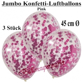 Jumbo Konfetti-Luftballons 45 cm, Transparent mit pinkfarbenem Konfetti gefüllt, 3 Stück