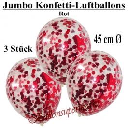 Jumbo Konfetti-Luftballons 45 cm, Transparent mit rotem Konfetti gefüllt, 3 Stück