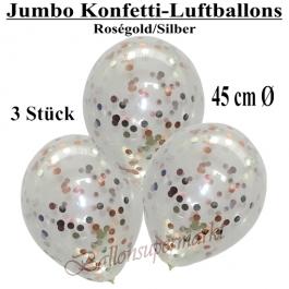Jumbo Konfetti-Luftballons 45 cm, Transparent mit roségoldenem und silbernem Konfetti gefüllt, 3 Stück