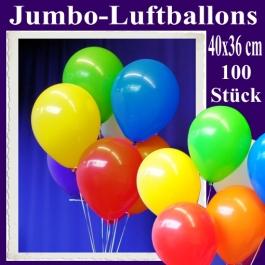 Jumbo Luftballons 40 cm x 36 cm, große Latex-Rundballons, 100 Stück