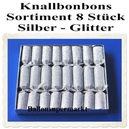 Knallbonbons Sortiment Silber Glitter 8 Stück