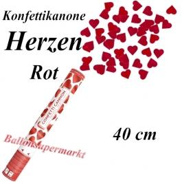 Konfettikanone, Herzen in Rot, 40 cm