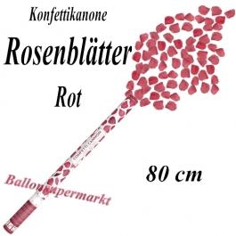 Konfettikanone mit roten Rosenblättern, roter Rosenrengen