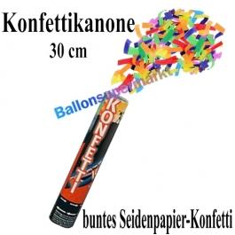 Konfettikanone, Konfetti-Shooter, 30 cm, buntes Seidenpapier