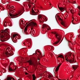 Konfetti Streudekoration, Tischdeko, Loving Hearts, rote Herzen, metallic