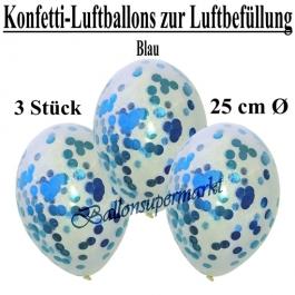 Konfetti-Luftballons 25 cm, Kristall, Transparent mit blauem Konfetti gefüllt, 3 Stück