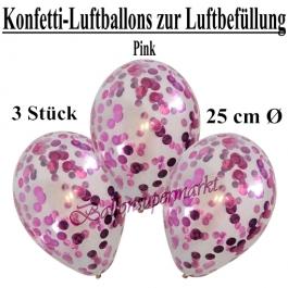 Konfetti-Luftballons 25 cm, Kristall, Transparent mit pinkfarbenem Konfetti gefüllt, 3 Stück