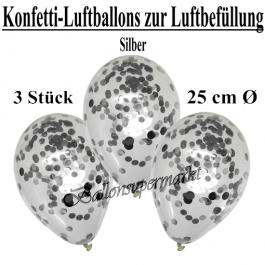 Konfetti-Luftballons 25 cm, Kristall, Transparent mit silbernem Konfetti gefüllt, 3 Stück