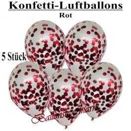 Konfetti-Luftballons 30 cm, Kristall, Transparent mit rotem Konfetti gefüllt, 5 Stück