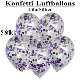 Konfetti-Luftballons 30 cm, Kristall, Transparent mit fliederfarbenem und silbernem Konfetti gefüllt, 5 Stück