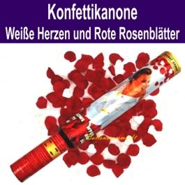 Konfettikanone mit weißen Herzen und roten Rosenblättern