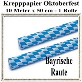 Krepppapier Oktoberfest Dekoration, 1 Rolle, 10 Meter x 50 cm, schwer entflammbar