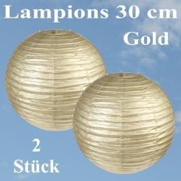 Lampions Gold, 30 cm, 2 Stück Set