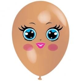Luftballon Gesicht, Frau mit blauen Augen, hautfarben, 1 Stück