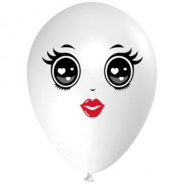 Luftballon Gesicht, Frau mit schwarzen Augen, weiß, 1 Stück