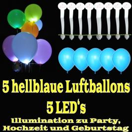 LED-Luftballons, Hellblau, 5 Stück
