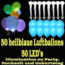 LED-Luftballons, Hellblau, 50 Stück