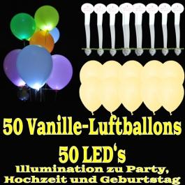 LED-Luftballons, Vanille, 50 Stück