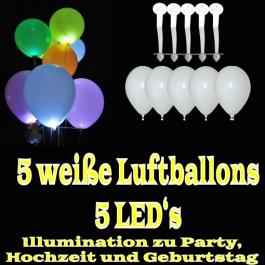 LED-Luftballons, Weiß, 5 Stück