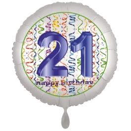 Luftballon aus Folie, Satin Luxe zum 21. Geburtstag, Rundballon weiß, 45 cm