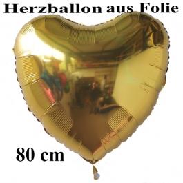 Luftballon aus Folie, Herzballon Gold, Jumbo-Luftballon, 80 cm