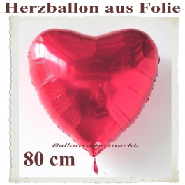 Großer Herzballon aus Folie, 80 cm, Rot