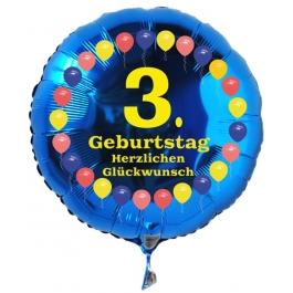 Luftballon aus Folie zum 3. Geburtstag, blauer Rundballon, Balloons, Herzlichen Glückwunsch, inklusive Ballongas