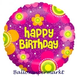 Geburtstags-Luftballon, Happy Birthday Blossoms, Ballon mit Helium