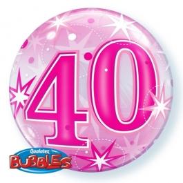 Bubble Luftballon Pink zum 40. Geburtstag, mit Helium