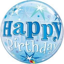Luftballon aus PVC , Bubble Happy Birthday Blau , inklusive Helium