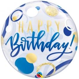 Luftballon aus PVC , Bubble Happy Birthday Blue & Gold Dots inklusive Helium