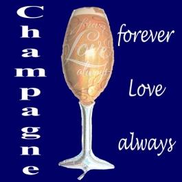 Luftballon aus Folie zur Hochzeit, Champagnerglas, For ever Love, always