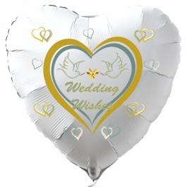 Luftballon zur Hochzeit, Wedding Wishes, Herzballon in Weiß