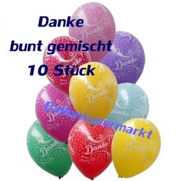 Motiv-Luftballons Danke, bunt gemischt, 10 Stueck