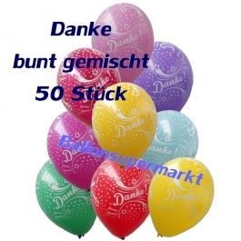 Motiv-Luftballons Danke, bunt gemischt, 50 Stueck