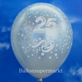 Silberner Luftballon, Zahl 25, zur Silbernen Hochzeit